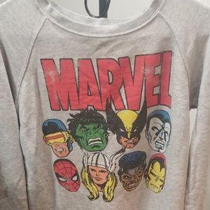 Junior's Long Sleeve Marvel Heros Shirt sz S